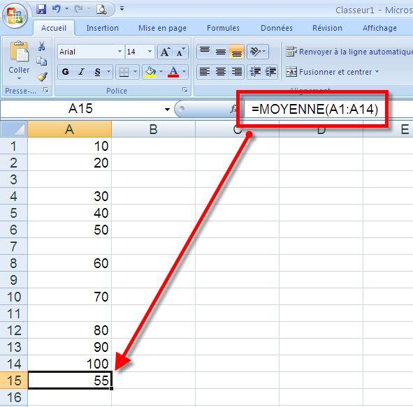 دروس الاعلام الالي للسنة الرابعة  متوسط برنامج 2014 Excel_moyenne